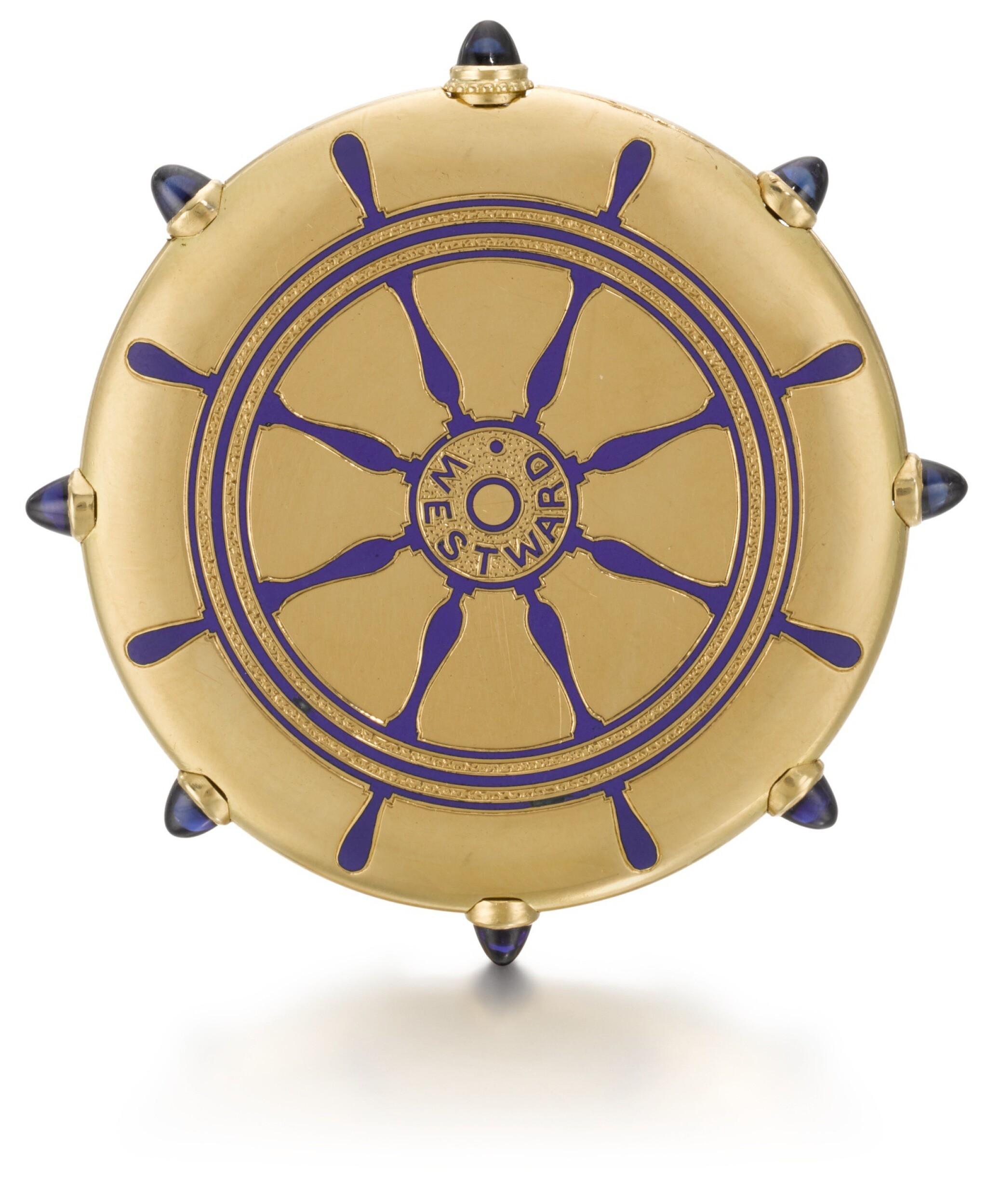 View full screen - View 1 of Lot 76. CARTIER, PARIS   [卡地亞,巴黎]    A GOLD AND ENAMEL KEYLESS OPEN-FACED WATCH IN THE SHAPE OF A SHIP'S WHEEL TO COMMEMORATE THE SUCCESS OF THE AMERICAN RACING SCHOONER WESTWARD AT THE 1910 KIEL REGATTA  CIRCA 1910   [黃金畫琺瑯船輪形懷錶,為紀念美國Westward縱帆快艇勝出1910年Regatta帆船賽製造,年份約1910].