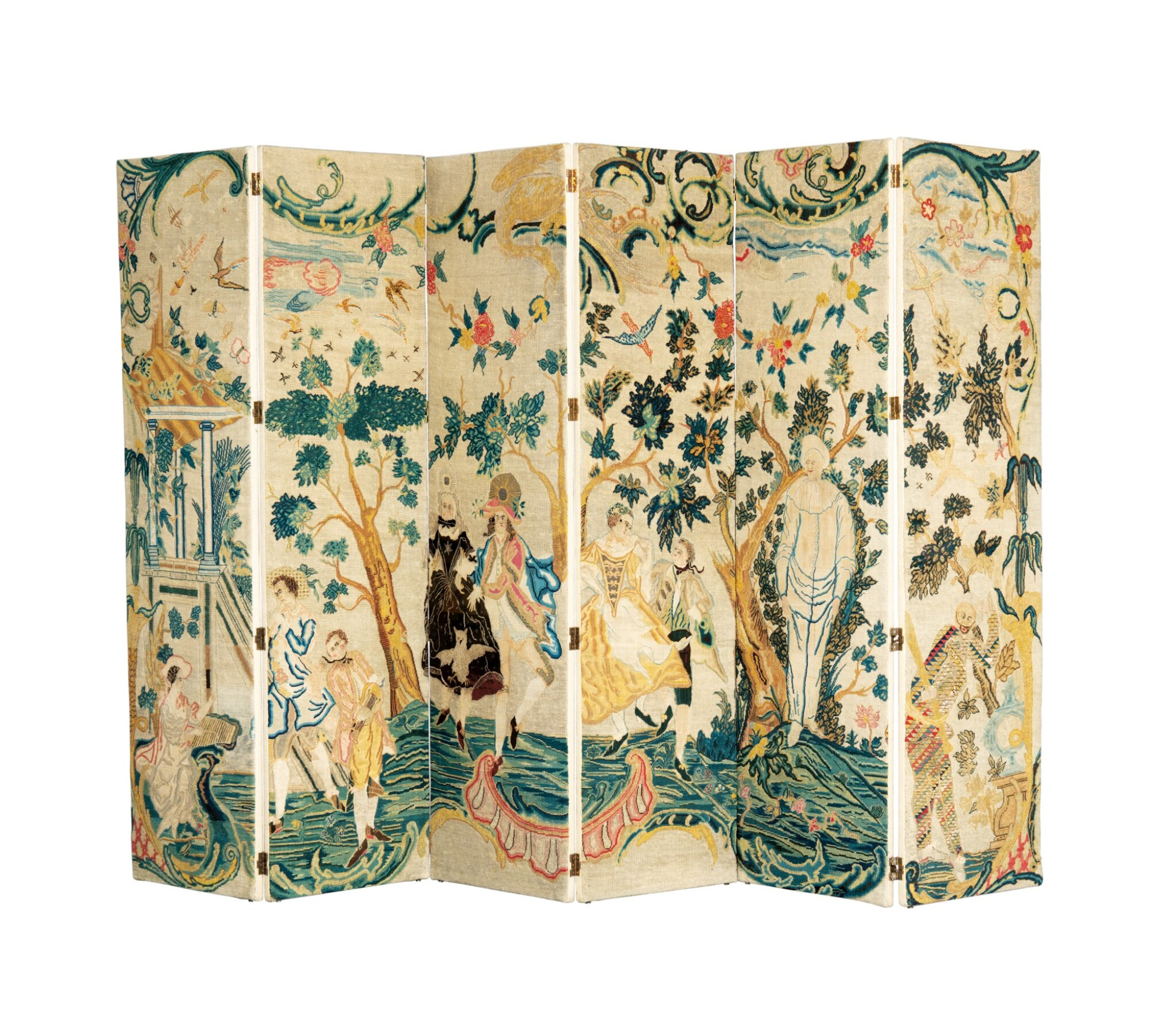 View 1 of Lot 45. A NEEDLEPOINT SIX-LEAVES FOLDING SCREEN, 18TH CENTURY [PARAVENT À SIX FEUILLES EN BRODERIE AU GROS POINT ET PETIT POINT, XVIIIE SIÈCLE].