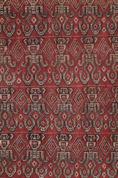 View 1. Thumbnail of Lot 38. Tissu cérémoniel pua, Iban, Bornéo, Indonésie, début du 20e siècle | Ceremonial cloth pua, Iban, Borneo, Indonesia, early 20th century.