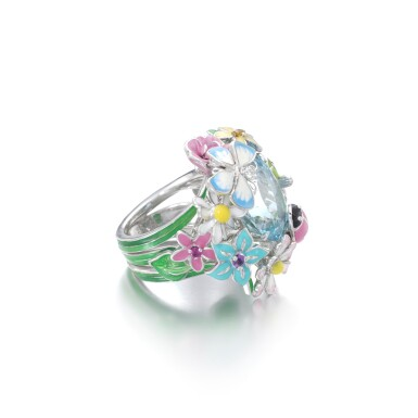 View 2. Thumbnail of Lot 21. Gem set and diamond ring, 'Diorette'.