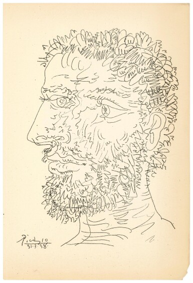 View 1. Thumbnail of Lot 130. PABLO PICASSO  |  PROFIL D'HOMME BARBU (B. 1830; BA. 727).