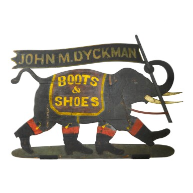 View 1. Thumbnail of Lot 89. EXCEPTIONAL POLYCHROME PAINT-DECORATED WOODEN 'ELEPHANT WALKING' TRADE SIGN, PEEKSKILL, NEW YORK, CIRCA 1882-1885.