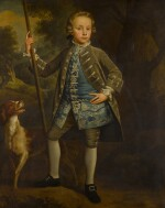Portrait of a boy in a landscape, full-length, with a dog beside him