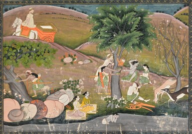 RAMA AND SITA IN THE FOREST, AN ILLUSTRATION TO THE RAMAYANA, INDIA, PAHARI, EARLY 19TH CENTURY