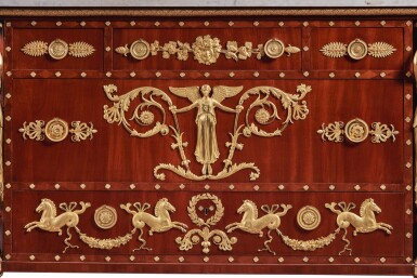 View 2. Thumbnail of Lot 127. A LATE LOUIS XVI GILT BRONZE-MOUNTED MAHOGANY COMMODE, AFTER A DESIGN BY PERCIER AND FONTAINE, CIRCA 1790-95.