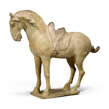 View 4. Thumbnail of Lot 105. A painted pottery figure of a horse, Tang dynasty.