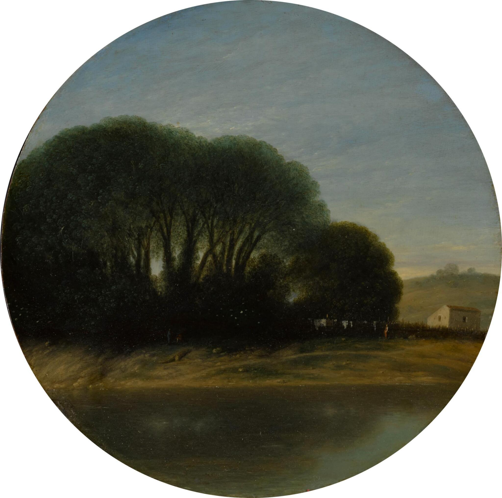 View full screen - View 1 of Lot 27. Landscape with a Farm and Trees Beside a River.