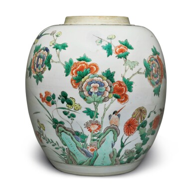 View 3. Thumbnail of Lot 4. A famille-verte 'bird and flower' jar, Qing dynasty, Kangxi period.