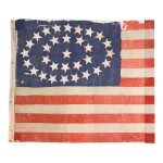 Flag: A 31-star American national flag said to have been used in the 1860 campaign of Abraham Lincoln, 1850–1858 1850–1858