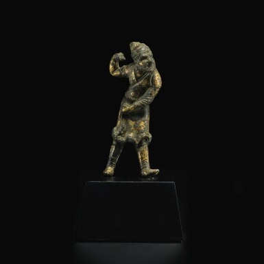 View 2. Thumbnail of Lot 581. A SMALL GILT-BRONZE FIGURE OF A SOGDIAN GROOM,  TANG DYNASTY.