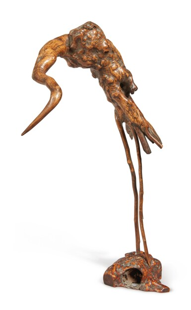 View 4. Thumbnail of Lot 1046. AN ABSTRACT ROOTWOOD FIGURE OF A CRANE,  QING DYNASTY.