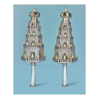 View 1. Thumbnail of Lot 76. A PAIR OF DUTCH PARCEL-GILT SILVER AND FILIGREE TORAH FINALS, 18TH CENTURY.