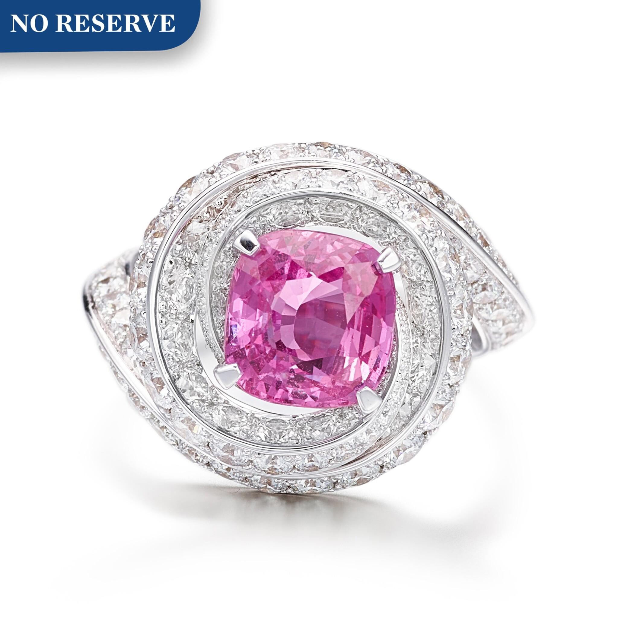View full screen - View 1 of Lot 1046. Pink Sapphire and Diamond Ring   格拉夫  3.13克拉 粉紅剛玉 配 鑽石 戒指 (鑽石共重約3.10克拉).