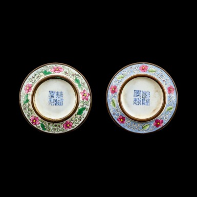 View 2. Thumbnail of Lot 1033. A pair of Canton enamel 'Tang Yin landscape' snuff dishes Seal marks and period of Qianlong   清乾隆 銅胎廣東畫琺瑯倣唐寅山水圖鼻煙碟一對 《乾隆年製》款.