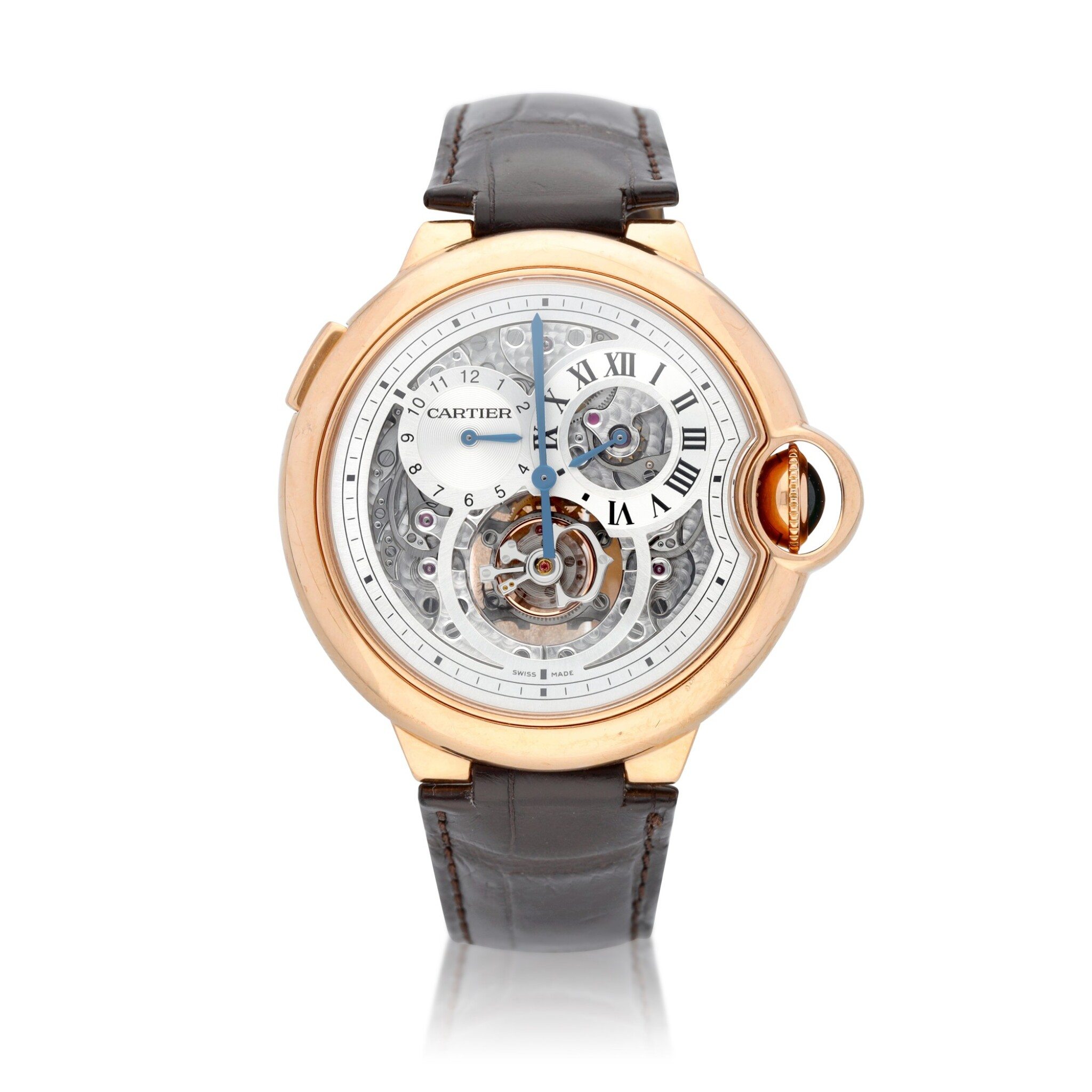 View full screen - View 1 of Lot 13. Ballon Bleu, Ref. 3326 Limited edition pink gold tourbillon wristwatch with dual time indication Circa 2009.