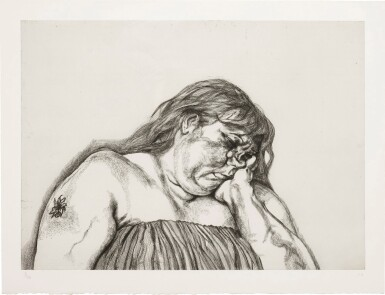 View 1. Thumbnail of Lot 101. LUCIAN FREUD | WOMAN WITH AN ARM TATTOO (F. 40).