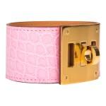 Hèrmes Bubblegum Pink (5P) Kelly Dog Bracelet of Matte Mississipiensis Alligator with Gold Hardware Size Large (T3)