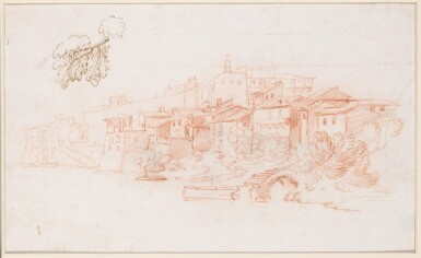 View 3. Thumbnail of Lot 129. Recto and Verso: A View Along the River Tiber.