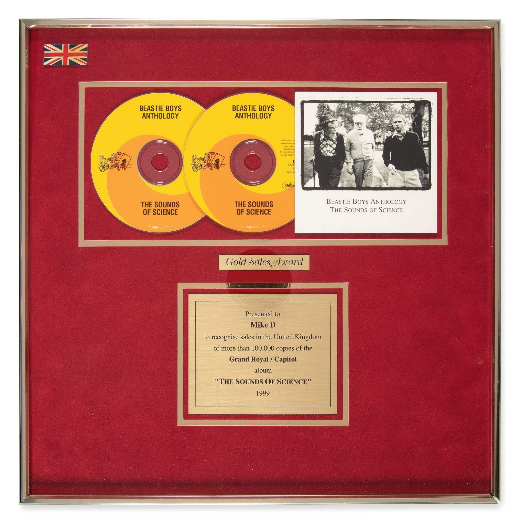 """Gold Sales award presented to Mike D for the Beastie Boys 1999 anthology album """"The Sounds of Science"""" for more 100,000 copies sold in the United Kingdom."""