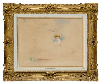 View 2. Thumbnail of Lot 12. La Yole et jeune femme au chapeau de paille (Femme assise dans une barque).