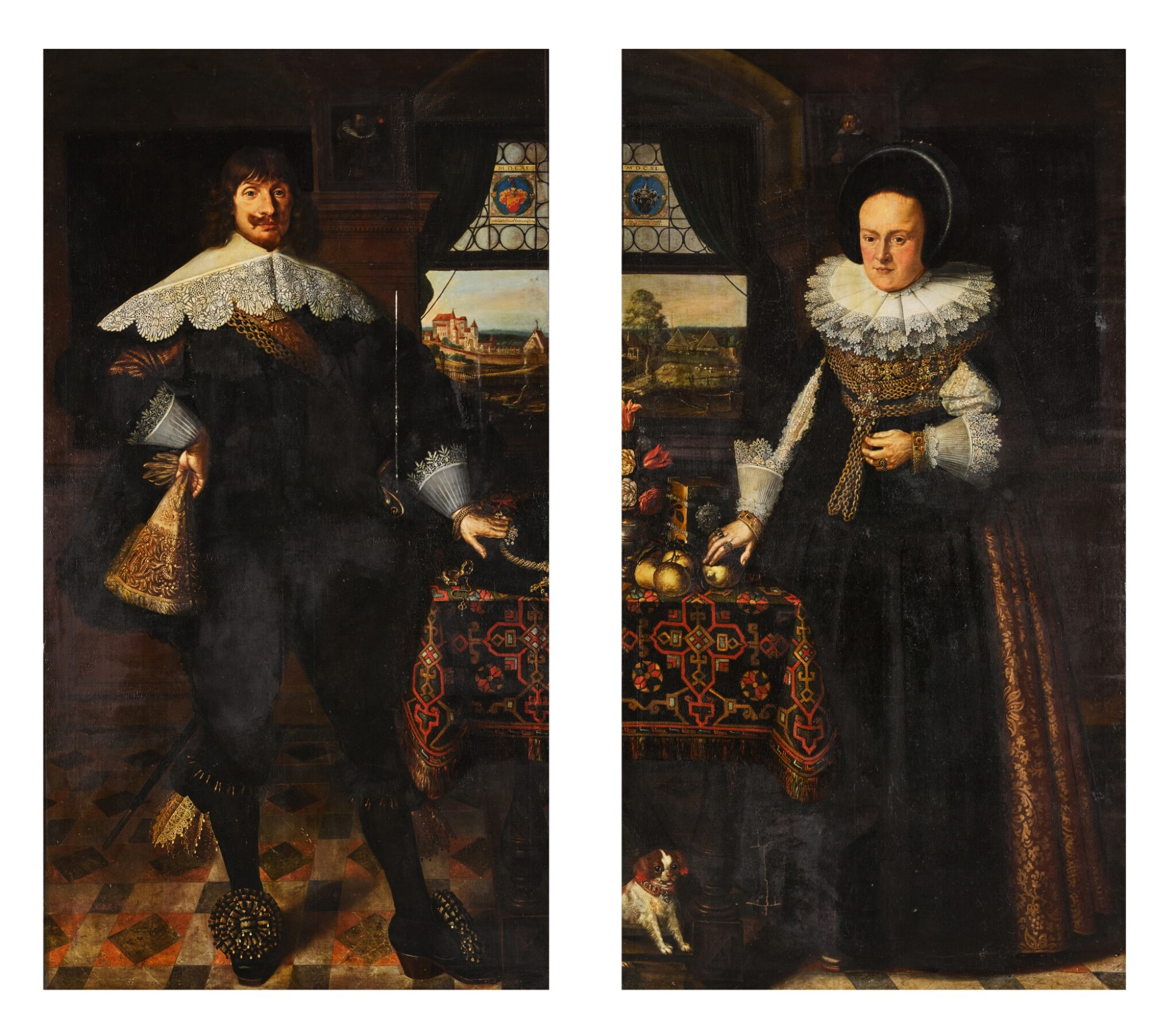 View full screen - View 1 of Lot 139. Portrait of Johann Jobst Schmidtmaier von Schwarzenbruck (1611-47); Portrait of his wife, Anna Maria (1605-64), both standing, full-length, in interiors with landscapes visible through windows beyond.
