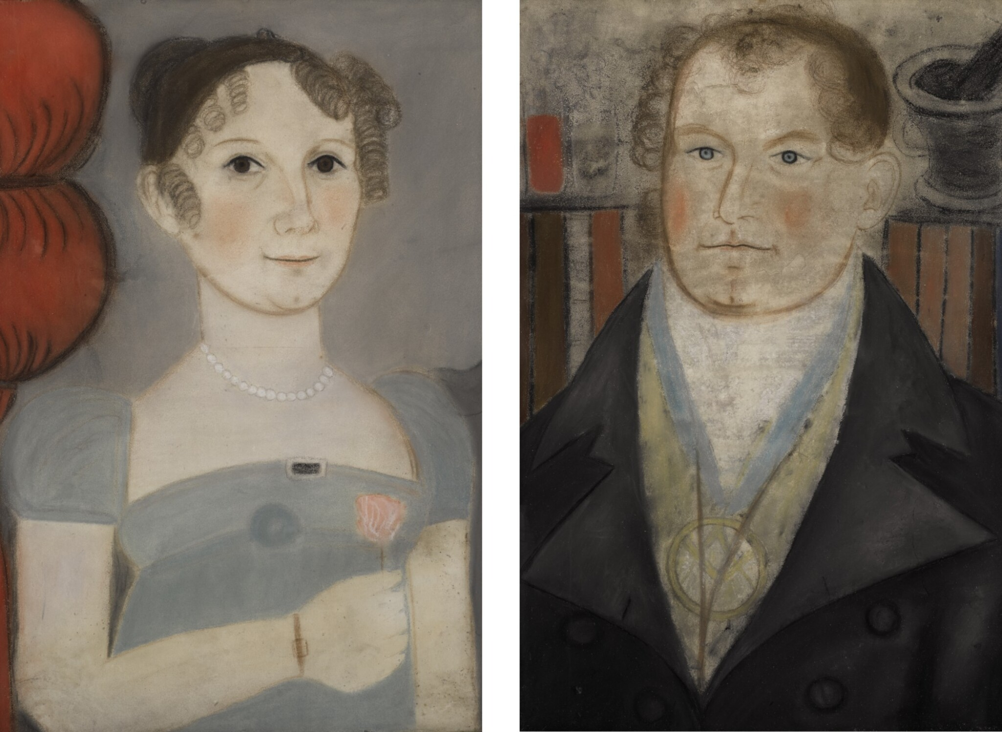 AMERICAN SCHOOL, 19TH CENTURY | PAIR OF FOLK PORTRAITS OF HUSBAND AND WIFE