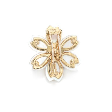 View 3. Thumbnail of Lot 86. Mother-of-pearl and diamond brooch, 'Rose de Noël'.