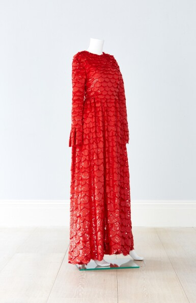 View 4. Thumbnail of Lot 34. Red Tulle Illusion Dress à merlons, Worn by Jane Fonda at the 2020 Screen Actors Guild Awards, Pre-Autumn 2019 Collection.