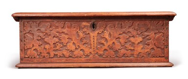 View 6. Thumbnail of Lot 59. Very Fine and Rare Pilgrim Century Red-Painted Carved Oak and Yellow Pine Document Box, attributed to John Moore I, Windsor, Connecticut, circa 1685.