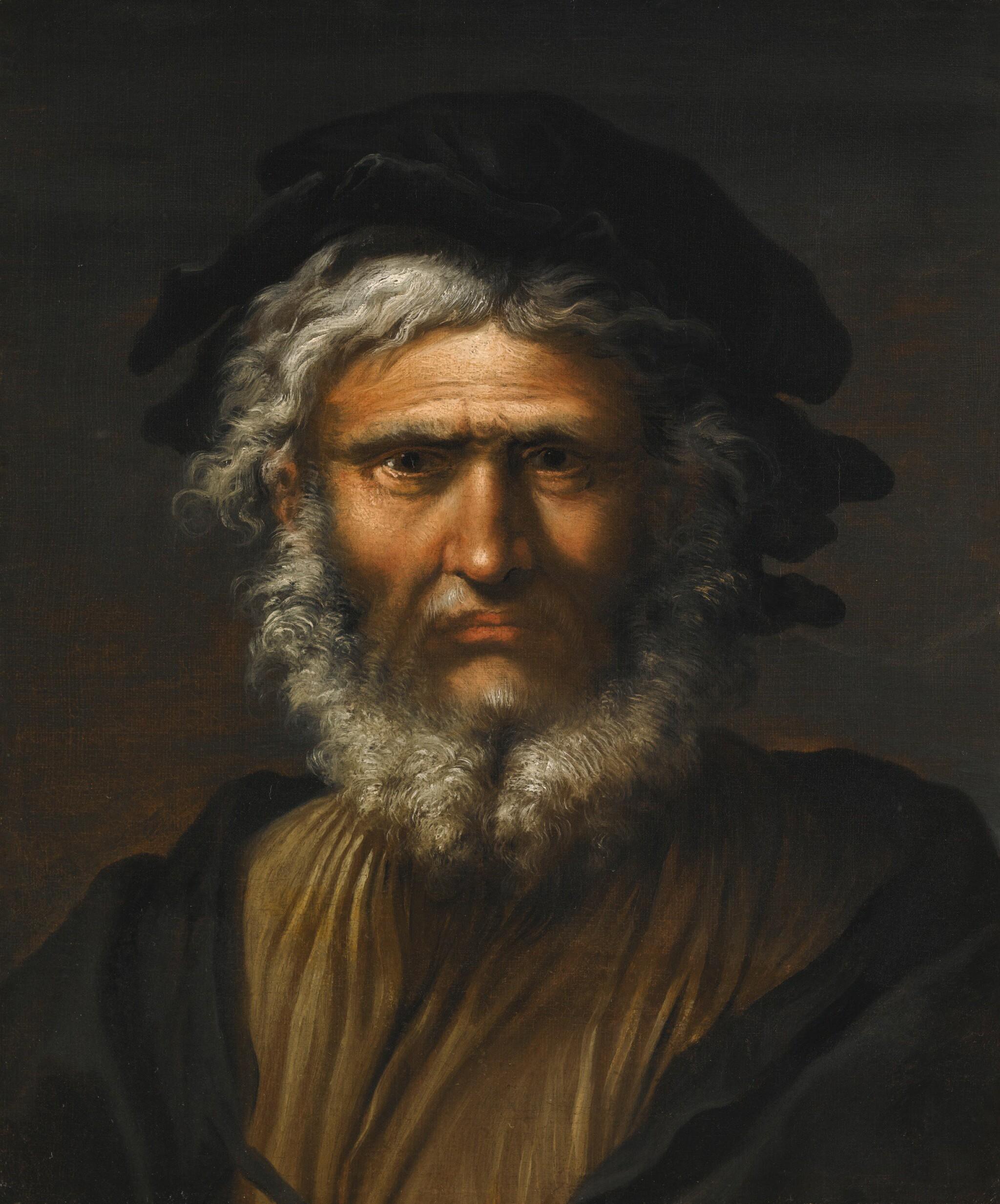 SALVATOR ROSA | Portrait of a bearded man, bust-length, traditionally identified as Masaniello | 薩爾瓦多・洛薩 | 《蓄鬚男子半身像,傳統上被視為馬薩涅洛》