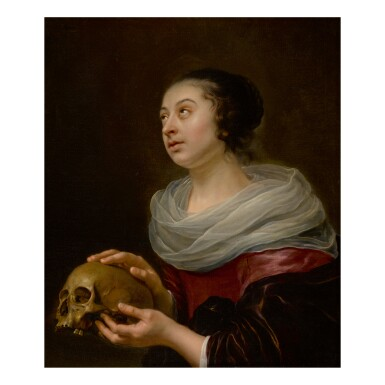 View 1. Thumbnail of Lot 99. ATTRIBUTED TO JAN OLIS | A VANITAS PORTRAIT OF A YOUNG WOMAN, HALF LENGTH, HOLDING A SKULL.