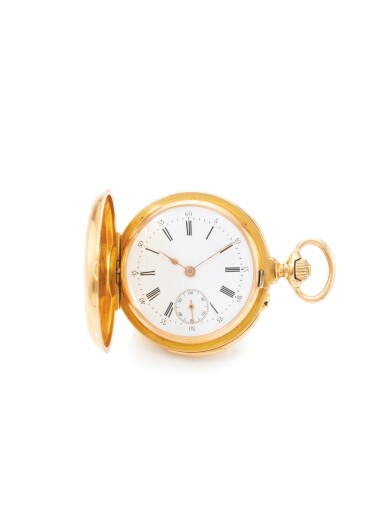 HENRY CAPT, GENEVA   A PINK GOLD HUNTING CASED MINUTE REPEATING WATCH CIRCA 1890
