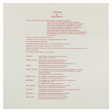 View 11. Thumbnail of Lot 22. ANDY WARHOL | MYTHS (FELDMAN & SCHELLMANN II.258-267).