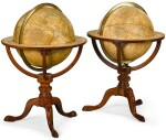 A MATCHED PAIR OF MAHOGANY 12-INCH TABLE GLOBES BY CARY, THE TERRESTIAL GLOBE DATED 1825