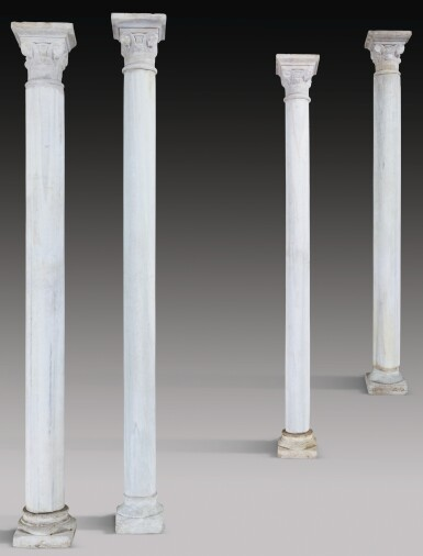 FOUR MONUMENTAL NASRID CARVED MARBLE COLUMNS AND CAPITALS, ANDALUSIA, SPAIN, CIRCA 15TH CENTURY