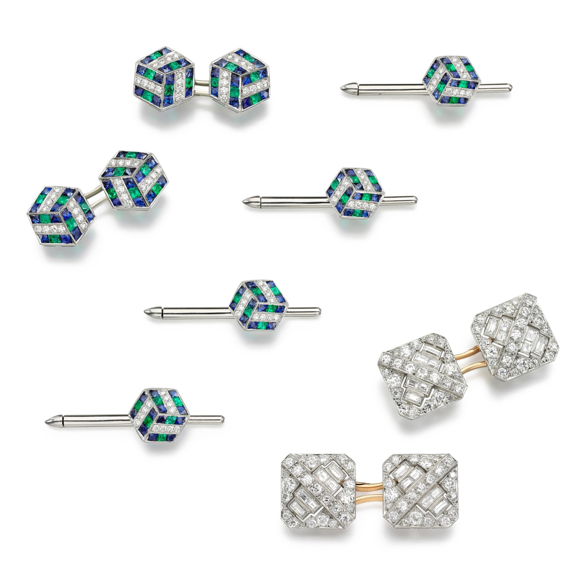 View full screen - View 1 of Lot 208. Pair of diamond cufflinks, 1930s, and an emerald, sapphire and diamond dress set.