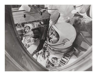 "[GEMINI 5] VINTAGE SILVER GELATIN PRINT OF CHARLES ""PETE"" CONRAD AND GORDON COOPER, CA AUGUST 1965."
