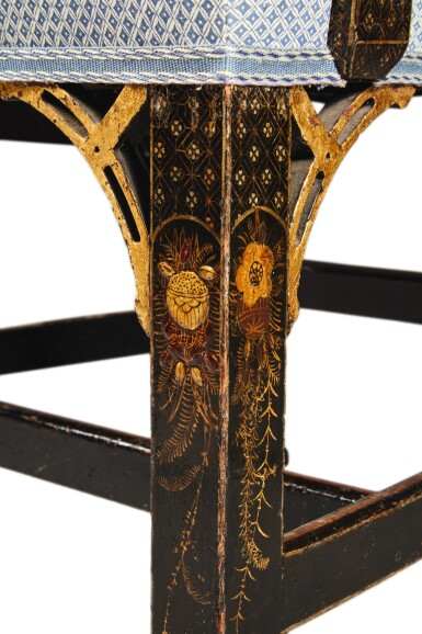 View 3. Thumbnail of Lot 4. A Set of Eight English Black and Gilt Japanned Dining Chairs, Late 19th Century.