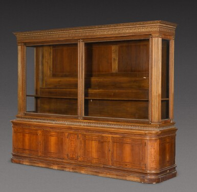 View 2. Thumbnail of Lot 178. An Austrian parcel-gilt intarsia inlaid walnut display cabinet, late 19th century.