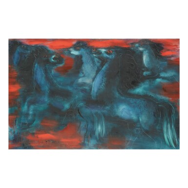 REUVEN RUBIN | THE BLUE HORSES