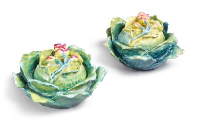 View 1. Thumbnail of Lot 154. TWO FRENCH PORCELAIN CABBAGE BOXES AND COVERS, LATE 19TH/20TH CENTURY.