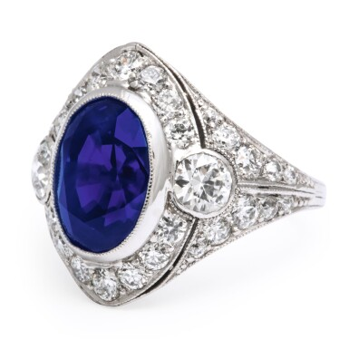 View 4. Thumbnail of Lot 43.  MARCUS & CO.   SAPPHIRE AND DIAMOND RING.