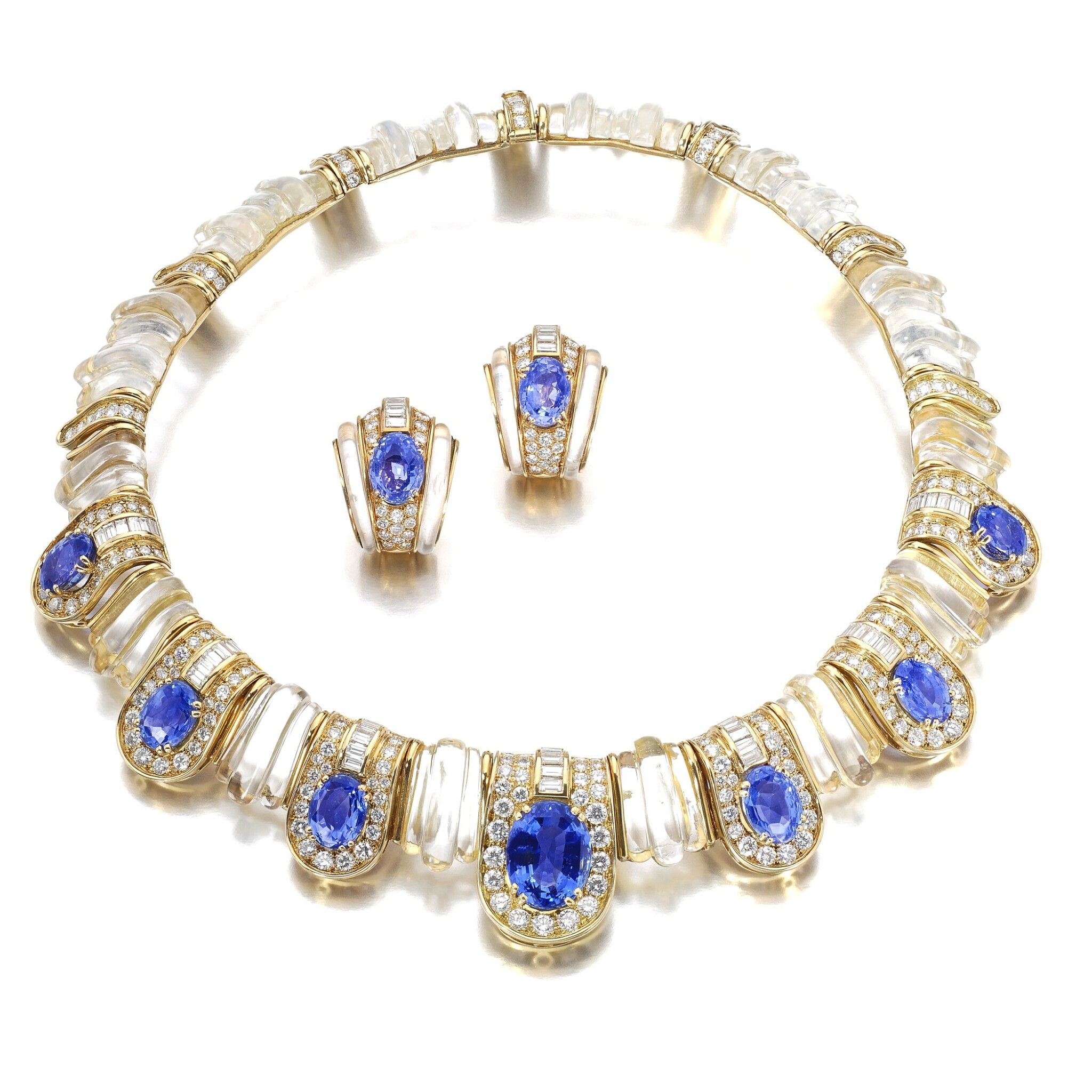View full screen - View 1 of Lot 620. Boucheron | Rock crystal, sapphire and diamond demi-parure | 寶詩龍 | 白水晶配藍寶石及鑽石首飾套裝.