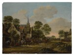 THOMAS HEEREMANS | VILLAGE SCENE WITH FIGURES BY A CHURCH