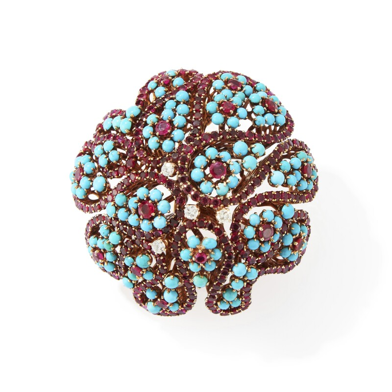 Ruby, Turquoise, and Diamond Clip-Brooch