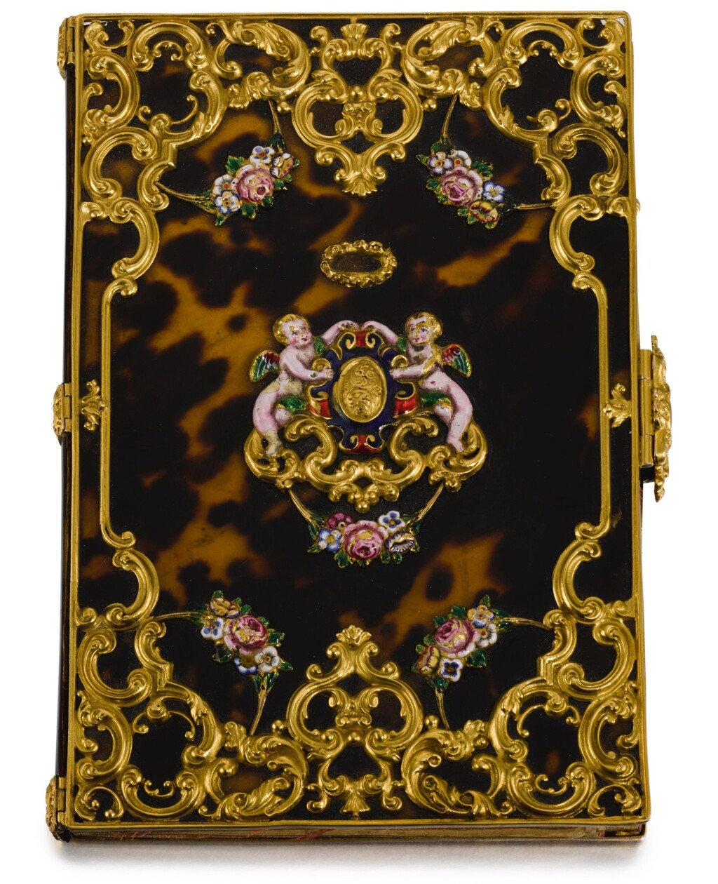 A TORTOISESHELL-COVERED NOTEBOOK WITH GOLD AND ENAMEL MOUNTS, UNMARKED, ENGLISH, CIRCA 1835