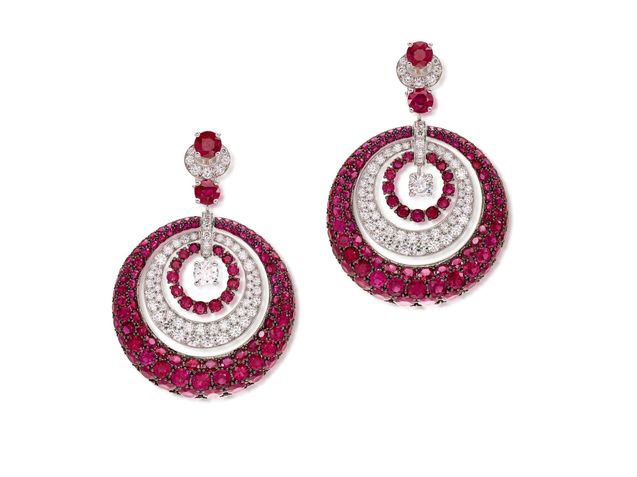 View full screen - View 1 of Lot 1848. 'Bombé' Pair of Ruby and Diamond Pendent Earrings | 格拉夫 | 'Bombé' 紅寶石 配 鑽石 耳墜一對.