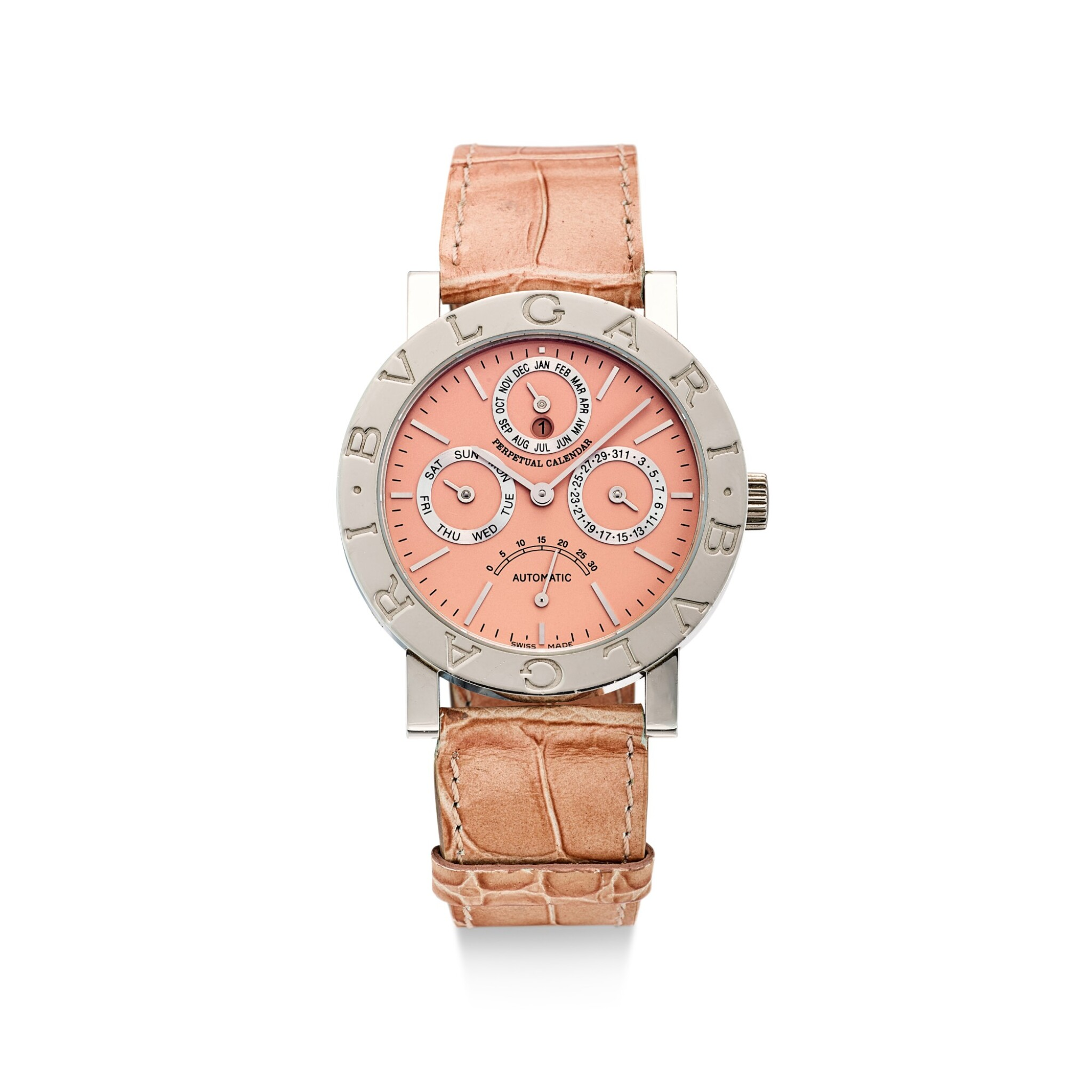 BULGARI | CALENDRIER PERPÉTUEL, REFERENCE BB 38 PL PC A LIMITED EDITION PLATINUM PERPETUAL CALENDAR WRISTWATCH WITH RETROGRADE SECONDS AND LEAP YEAR INDICATION, CIRCA 2000