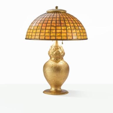 "View 1. Thumbnail of Lot 23. TIFFANY STUDIOS | ""GEOMETRIC"" TABLE LAMP."
