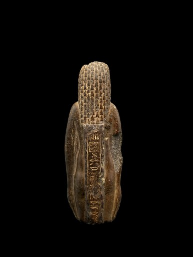 View 4. Thumbnail of Lot 50. An Egyptian Fragmentary Brown Steatite Figure of Hathor, Ptolemaic Period, 305-30 B.C..